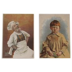 2 Soapine Victorian Trade Cards Happy Chef and Sad Child