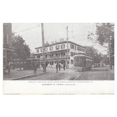 Quakertown PA Trolley Junction and Railway Station Double Sided Postcard PRR Zeigler Photos