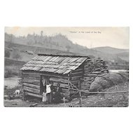 1910 Black Americana Postcard Home in the Land of the Sky Family Dog and Cabin North Carolina German Germany