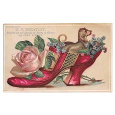 Dog in Red Slipper Shoe Victorian Trade Card for DH Wheatley Shoe Store