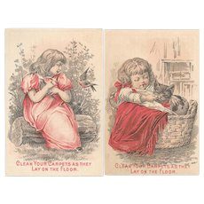 Girl with Cat & Bird Nine O'Clock Washing Tea Victorian Trade Cards