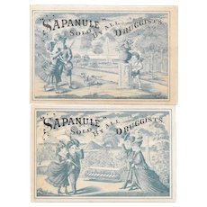 2 Sapanule Cupid and A Dog Cure All Victorian Trade Cards Romantic Couples in the Park