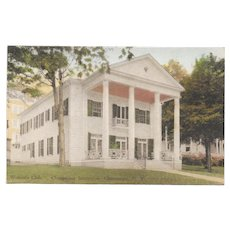 1933 Chautauqua Institution Woman's Club Hand Colored Postcard