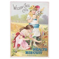 Wilson-Cass Co Health Biscuit Victorian Chromolithograph Trade Card Girls and Flowers Wilson Cass