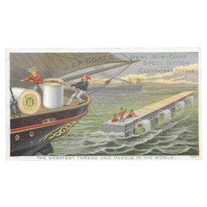 JP Coats Thread Black Americana Victorian Trade Card Sailing Ships Six-Cord Spool Cotton Sewing and Cleopatra's Needle Nautical