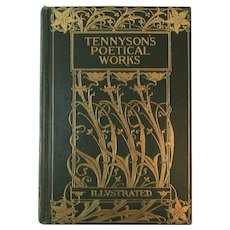 1899 Tennyson's Poetical Works Illustrated Library Edition Embossed Cover Book