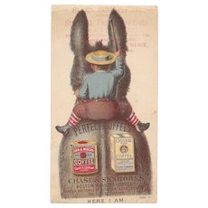 Chase & Sanborn Coffee Donkey Victorian Advertising Trade Card Where is the Boy?