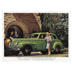 1940 Oldsmobile Series 60 Advertising Photo Card