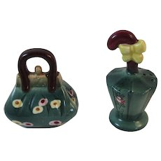 Purse and Parasol Salt and Pepper Shakers Suitcase Umbrella Japan Vintage Kitchen Tableware