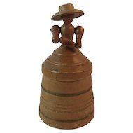 Turned Wood Sewing Container Treen Lady on Lid with Moveable Arms