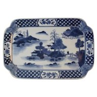 Canton Ware Platter Tray Blue and White Chinese Export Porcelain Cantonware
