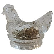 Millstein Candy Container Chicken Hen on the Nest for Easter Jeannette, PA Glass