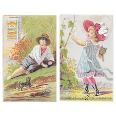2 Barkley & Hasson's Cat & Dog Miniature Victorian Trade Cards Baltimore Enterprise Roasted Coffee Advertising