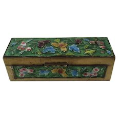 Chinese Enamel and Brass Stamp Box Enameled Flowers
