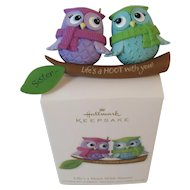 Hallmark Keepsake Owls Ornament Life's a Hoot With Sisters Handcrafted Christmas