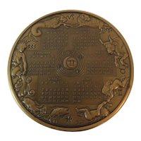 Bronze 1975 Franklin Mint Annual Calendar Art Medal