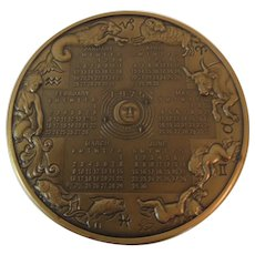 Bronze 1975 Franklin Mint Annual Calendar Art Medal
