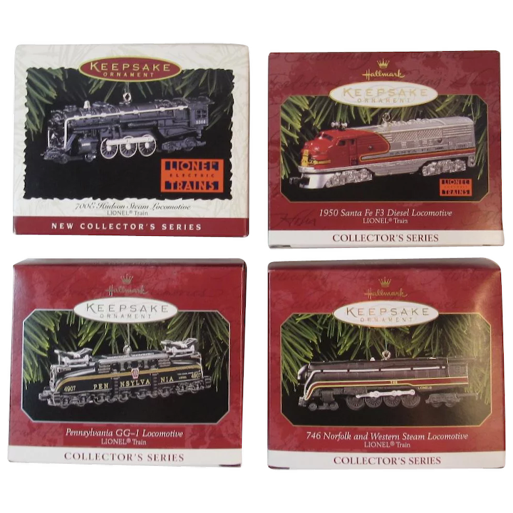 Christmas Train Cast.Hallmark Lionel Train Ornaments First 4 In Series 1996 1999 Die Cast Locomotives 700e Hudson 1950 Santa Fe F Diesel Pennsylvania Railroad Gg 1 746