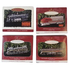 Hallmark Lionel Train Ornaments First 4 in Series 1996 - 1999 Die Cast Locomotives 700E Hudson 1950 Santa Fe F# Diesel Pennsylvania Railroad GG-1 746 Norfolk and Western Steam Christmas Keepsake Ornaments