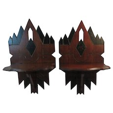 Eastlake Gothic Walnut Wall Shelves Shelf Victorian Antique