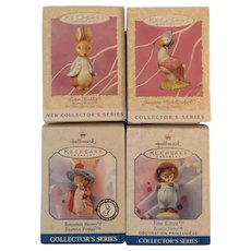 First 4 Beatrix Potter Series Hallmark Ornaments 1996 - 1999 Peter Rabbit Jemima Puddleduck Benjamin Bunny & Tom Kitten Keepsake in Original Boxes