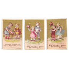 3 Victorian Millinery Trade Cards George Allen Jr Philadelphia PA, Pink Cabbage Roses and Children Gold Background