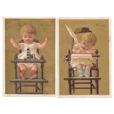 2 1880s Acme Soap Victorian Trade Cards Baby in Highchair with Quill Pen and Dominoes Gies & Co Buffalo NY Lithograph
