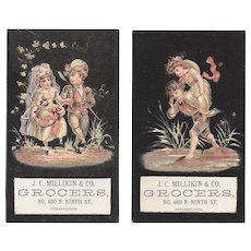 2 Fairy Bride and Groom Victorian Trade Cards for J. C. Milliken & Co of Philadelphia