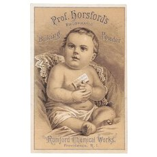 Professor Horsford's Phosphatic Baking Powder Victorian Trade Card with Baby Rumford Chemical Works, RI Prof Prof.