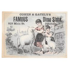 Cohen & Gately's Famous Dime Store Kansas City Victorian Advertising Trade Card with Sheep Lamb