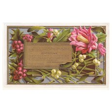 Odontine Tooth Powder Victorian Trade Card Dental Flowers on a Gold Background John Wanamaker Philadelphia