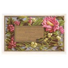 Odontine Tooth Powder Victorian Trade Card Dental Flowers on a Gold Background John Wanamaker Philadelphia