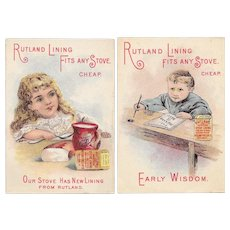 2 Rutland Stove Lining Victorian Trade Cards Early Wisdom