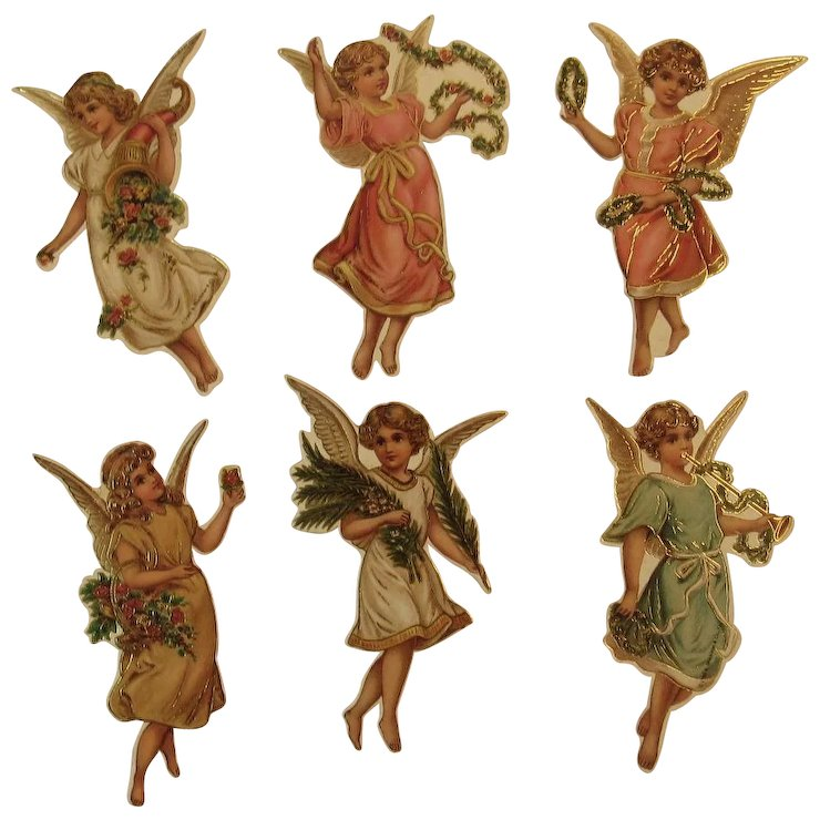 6 angel christmas ornaments by b shackman die cut die cut