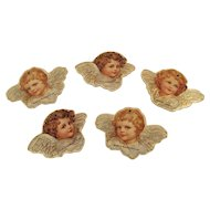 5 Small Angel Cherub Christmas Ornaments by B. Shackman Die Cut Die-Cut