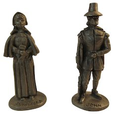 Plymouth Pewter Miniatures Priscilla and John Alden Pilgrims Figurines Mayflower Thanksgiving Decor