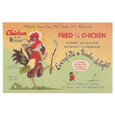 1940s Chicken in the Rough Postcard M.D's Modern Cabins New Market, Virginia VA
