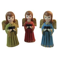 3 Papier Mache Christmas Angel Carolers from Ardco of Japan