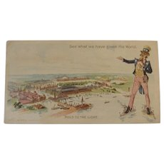 1893 Colombian Exposition Uncle Sam Hold to the Light Patriotic Trade Card Everett Piano 1892