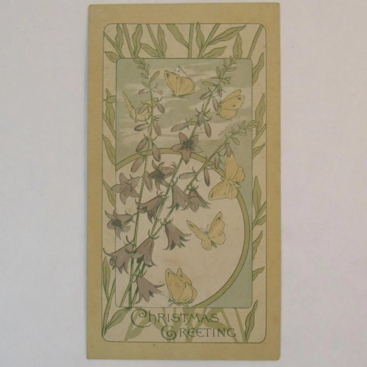 Art Nouveau Christmas Card with Butterflies, Flowers and a Poem : SS ...