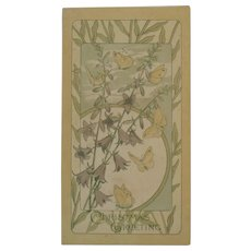 Art Nouveau Christmas Card with Butterflies, Flowers and a Poem Butterfly