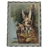 Guardian Angel and Children Religious Lithograph Print by A Ho