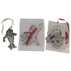 Tony the Tiger Pewter Christmas Ornaments from Kellogg's Vintage Advertising 1987 1993 Cereal Characters Kelloggs