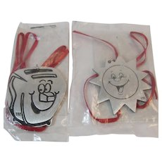 2 Kellogg's Characters Pewter Christmas Ornaments Advertising Cereal Kelloggs Milton the Toaster and Sunny