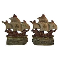 Cast Iron Ship Bookends With Original Paint Book Ends Nautical Spanish Galleon