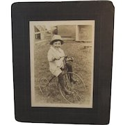 Child on Velocipede Tricycle Photograph Cabinet Card