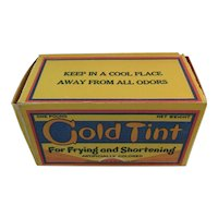 Gold Tint Shortening Box Baltimore Butterine Co Vintage Kitchen 1 Pound