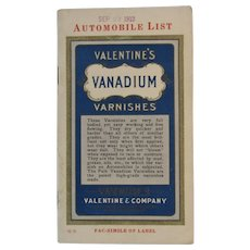 1912 Valentine's Vanadium Varnishes Automobile Descriptive Price List for Cars, Carriages and Wagons Valentine & Co