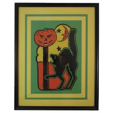 Vintage Framed Halloween Decoration Beistle Co Black Cat Pumpkin and Moon