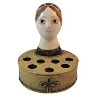 Papier Mache Lady Bust Lipstick Holder